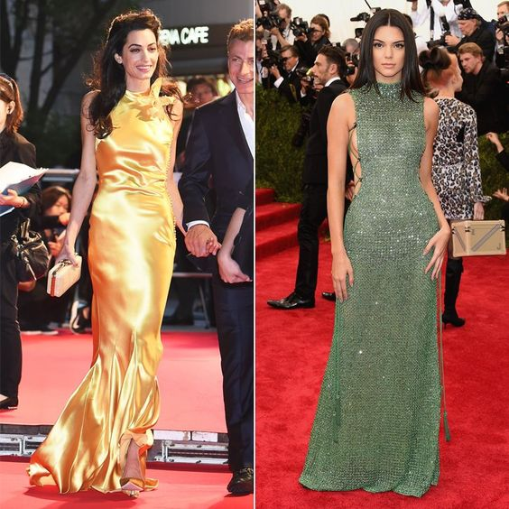 Pin for Later: You'll Never Guess What Amal Clooney and Kendall Jenner Have in Common Amal and Kendall Can Both Work a Slinky Dress Amal chose a golden John Galliano gown for the Tomorrowland premiere, while Kendall wore a slinky Calvin Klein number to the Met Gala.