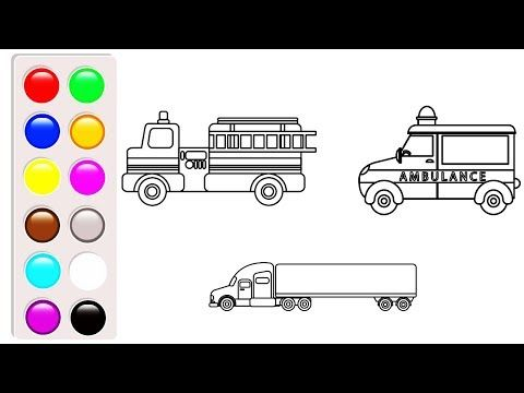 Ambulance Coloring Pages Learn Colors For Kids With Car And Construction Truck Coloring Book Video Youtube