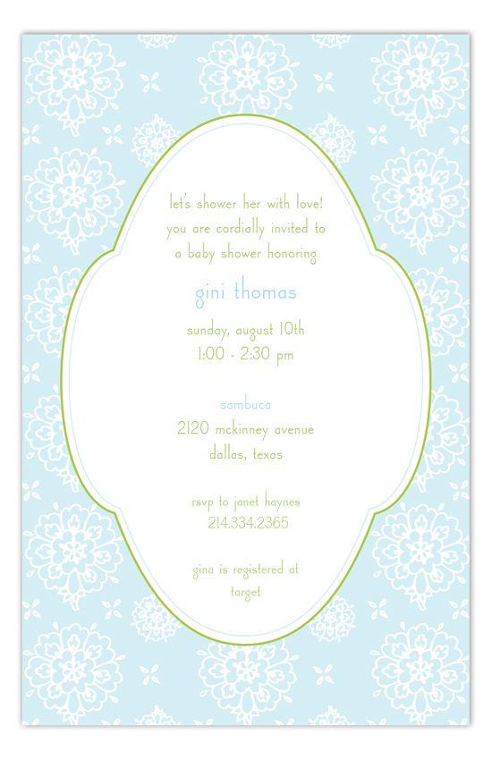 Cute Blue Floral Invitation