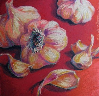 flying shoes art studio: Garlic on Red