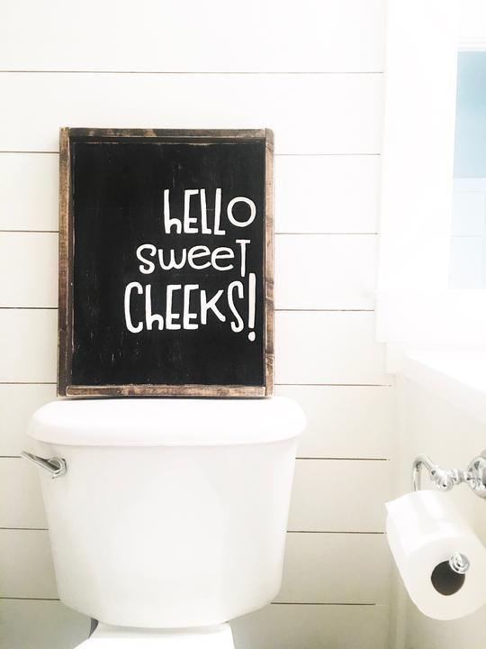 Hello Sweet Cheeks Wood Sign Wood Sign Wall Hanging Hang Bathroom Decor Ideas Interiordesign Rustic Wo Cheap Home Decor Retro Home Retro Home Decor