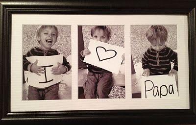 I <3 Papa, diy gift idea.  Prints ~2.00; frame ~8.00.  Total = approximately $10.00