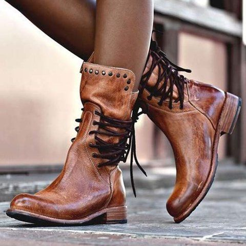 Hot Shoes,Womens Casual Flat Leather Retro Lace-up Boots Side Zipper Round Toe Shoe Boots