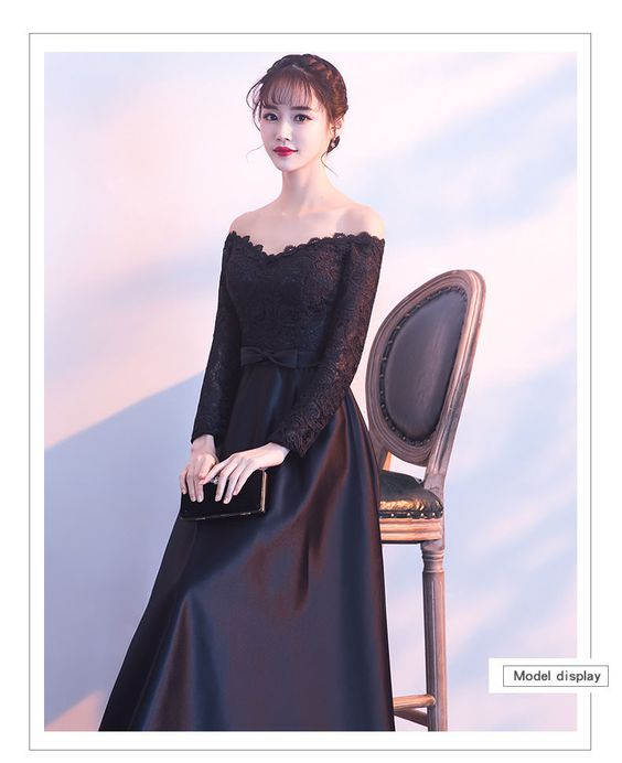 Buy Wonhi Off Shoulder Long-Sleeve A-line Evening Gown | YesStyle