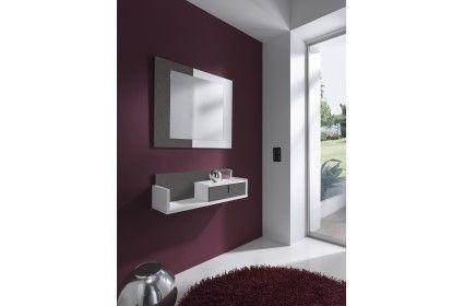 Conjunto recibidor formado por un espejo y un mueble estantería. Varios colores disponibles.