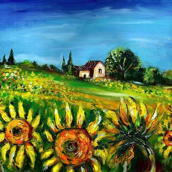 Sunflowers And Countryside In Tuscany Landscape Collection Beauty Nature Fineart Oilpainting Landscape Landscape Florence Art Tuscany Landscape Landscape