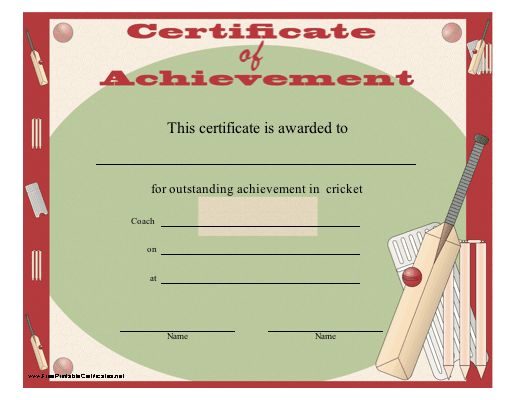 A certificate of achievement for cricket players or teams - free customizable printable certificates of achievement