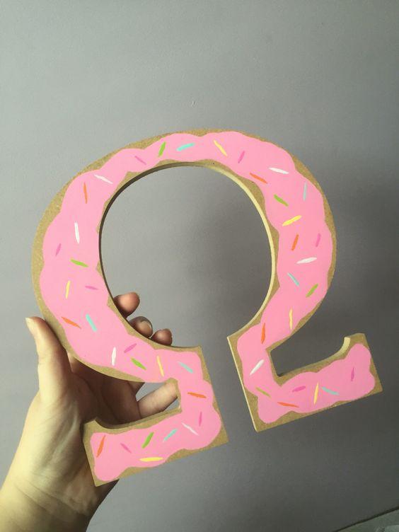 """Doughnut Painted 8"""" Greek Letter by Rosaerie on Etsy https://www.etsy.com/listing/457018956/doughnut-painted-8-greek-letter"""