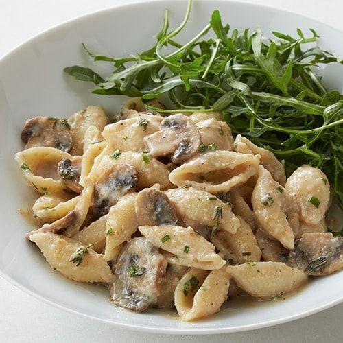Creamy Cashew Pasta With Mushrooms Arugula Kroger Recipe In 2020 Arugula Recipes Stuffed Peppers Mushroom Pasta