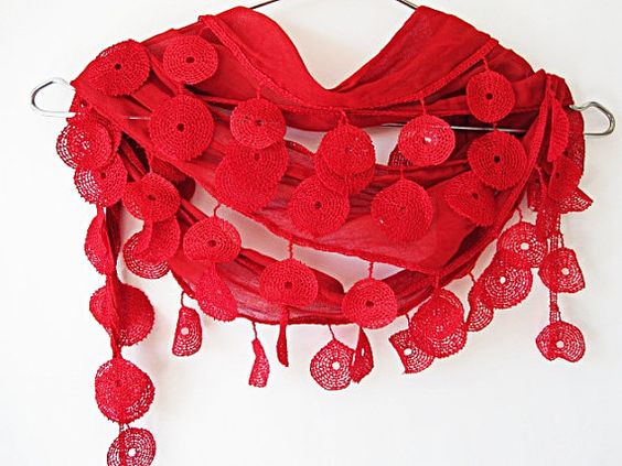 Traditional Turkish Woven Scarf With Circle by mediterraneanlights, $15.90