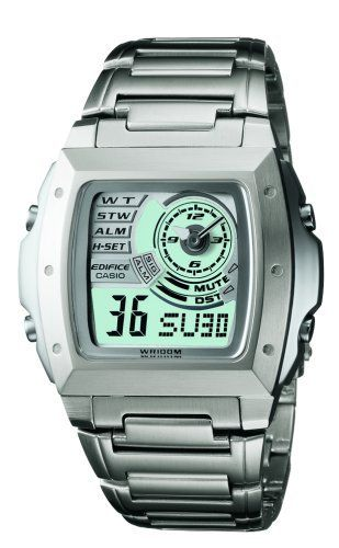 Casio Men's EFA123D-7AV Ana-Digi Sport Watch Casio. $47.87. Protective Mineral crystal protects watch from scratches. Water-resistant to 330 feet (100 M). Quartz movement. Case diameter: 45 mm. Stainless-steel case; White dial; Day-and-date functions. Save 47%!