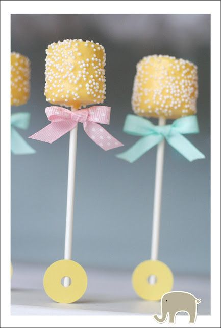 Baby Shower: Marshmallow pops that look like a baby rattle-Cute! See more ideas