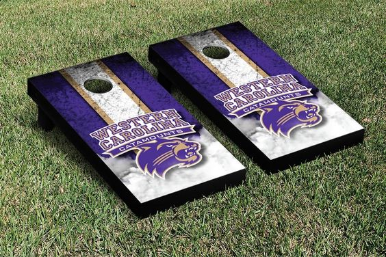 WCU Catamounts Cornhole Set - Western Carolina University logo corn filled bags and NCAA Carry Case available with this Vintage Version board set - 16480
