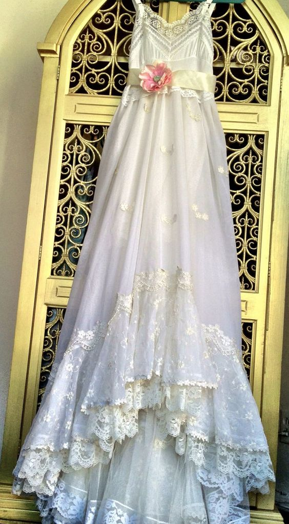 white & ivory embroidered chiffon and tulle fishtail boho wedding dress by mermaid miss k. $200.00, via Etsy - completely stunning