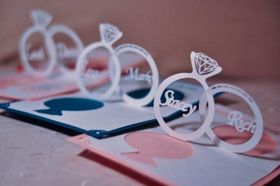 Kreative Einladungskarten zur Hochzeit-3d Hochzeitsringe mit Namen