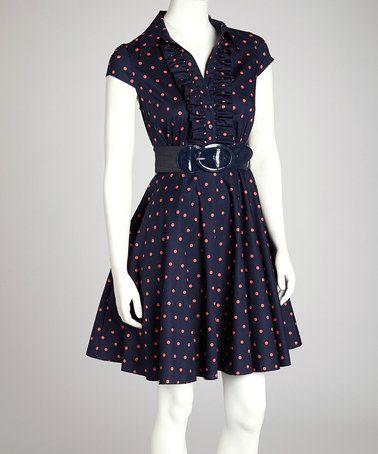 Take a look at this Navy &amp- Coral Polka Dot Collared Dress by ...