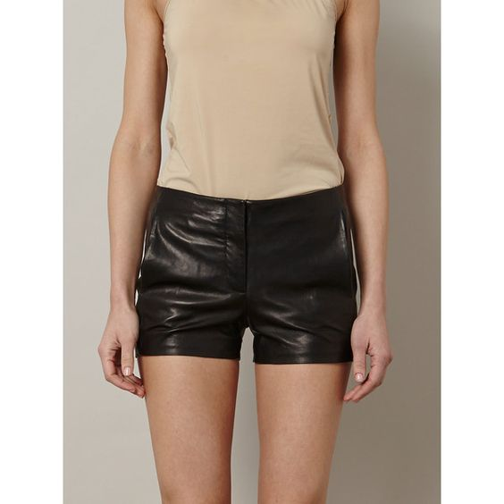 T By Alexander Wang Leather Shorts (330 AUD) found on Polyvore