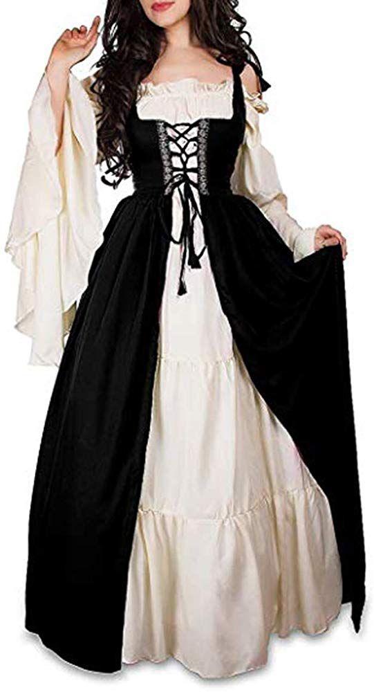Mythic Renaissance Medieval Irish Costume Over Dress Cream Chemise Set Small Black Ropa Renacentista Ropa Medieval Ropa De Vestir Mujer