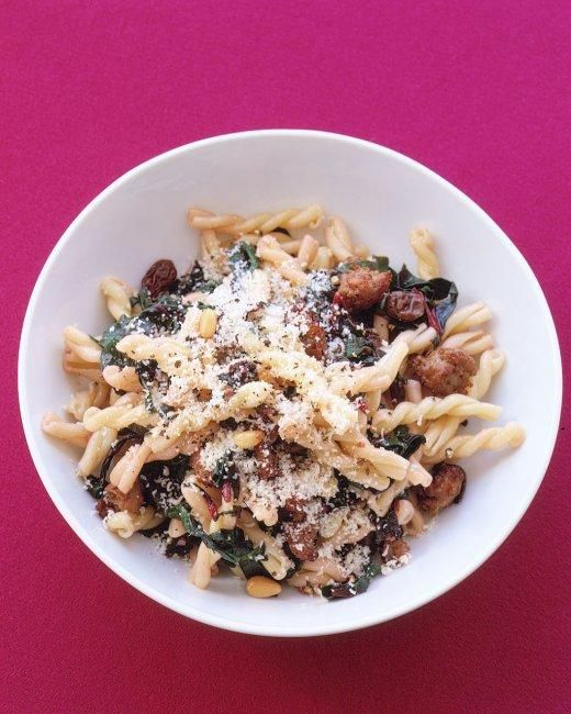 Gemelli With Sausage, Swiss Chard, and Pine Nuts Recipe