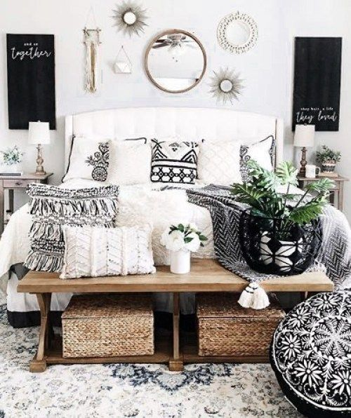 10 Bright And Airy Black And White Boho Bedroom Ideas Diy Darlin White Bedroom Decor White Master Bedroom Master Bedrooms Decor