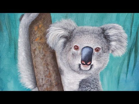 Koala Acrylic Painting Live Tutorial Youtube Koala Mini Canvas Art Acrylic Painting Tutorials