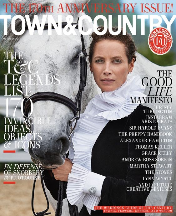 Christy Turlington on Town & Country Magazine October 2016 Cover