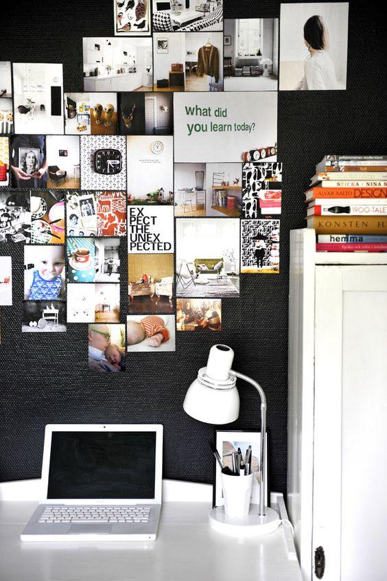 Textured black wall and mood board pics. #black #walls #paint #inspiration