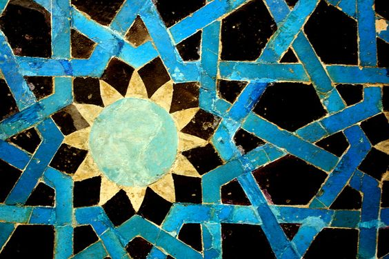 Istanbul. Tile work in the Islamic Arts Museum: