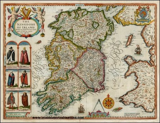 How cool is this! It's a 'carte a figures', meaning that the map was embellished with drawings of people, and was a typically Dutch decoration of the time (Speed's maps were produced by Dutch cartographers). Three kinds of early seventeenth-century Irish people are dressed here – Gentle, Civill (non-military middle class), and Wilde. #irish #ireland #textile #history
