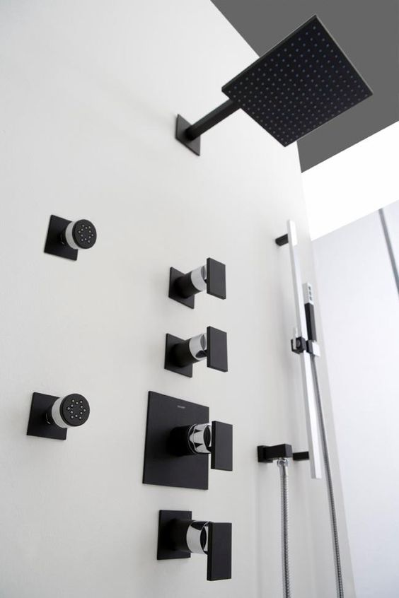 GRAFF  39 s Solar shower in Architectural Black adds instant drama to any bathroom. GRAFF  39 s Solar shower in Architectural Black adds instant drama to