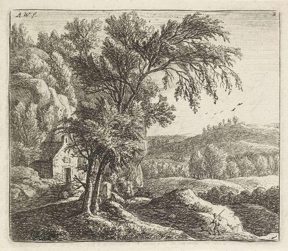 Anthonie Waterloo | Kluizenaarshut, Anthonie Waterloo, Reinier & Josua Ottens, Josua & Reinier II Ottens, 1630 - 1663 | In een heuvelachtig landschap staat links een eenvoudig huis tegen een rotswand. Linksvoor staan twee bomen. Rechts loopt een man met een hond richting het huis.