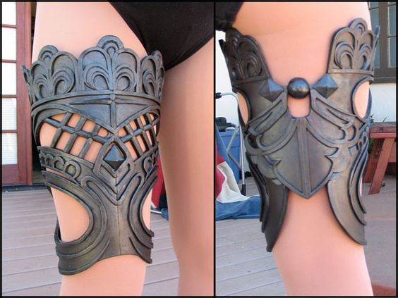 I already know how to use craft foam, looks like she layered it as well. Posting for the lovely lace thing and also for the novelty of thigh armor.