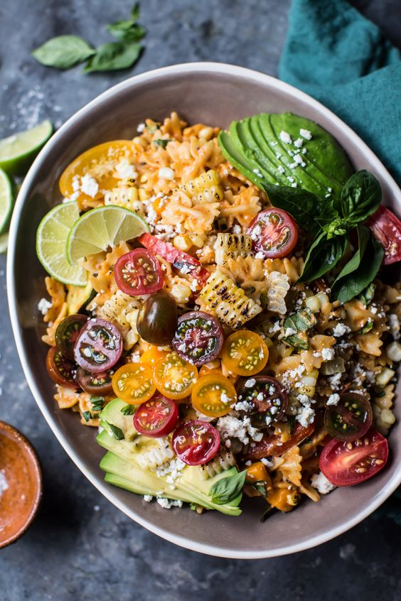 Charred Corn and Zucchini Enchilada Pasta Salad | Recipe ...