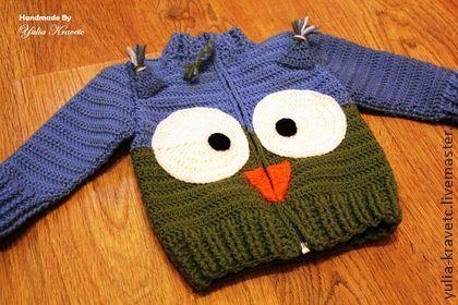 """Свитер """"Совушка"""" для детей - зелёный,синий цвет,свитер вязаный,свитер женский"""