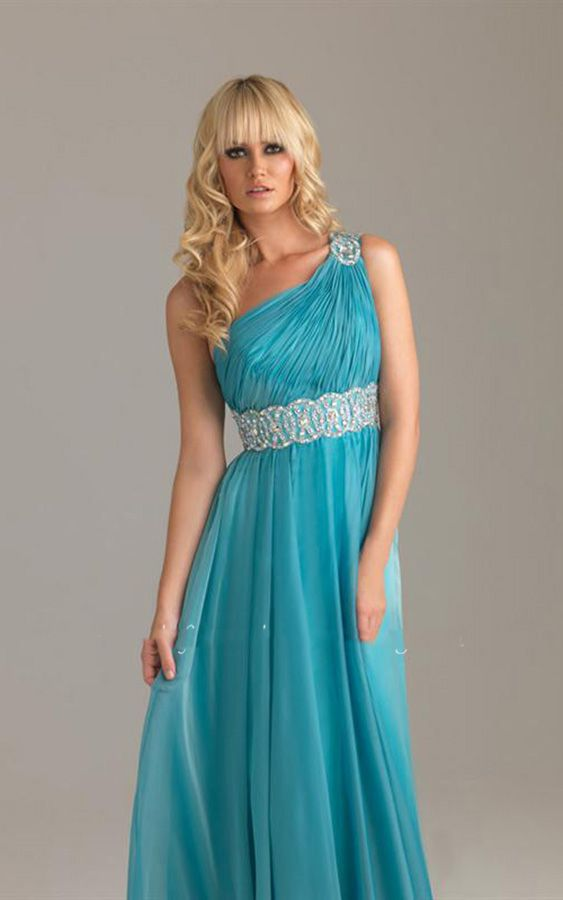 Ruched Bodice Beaded Empire Blue One Shoulder Waistline Chiffon Prom Long Dresses http://www.2014partydresssale.com