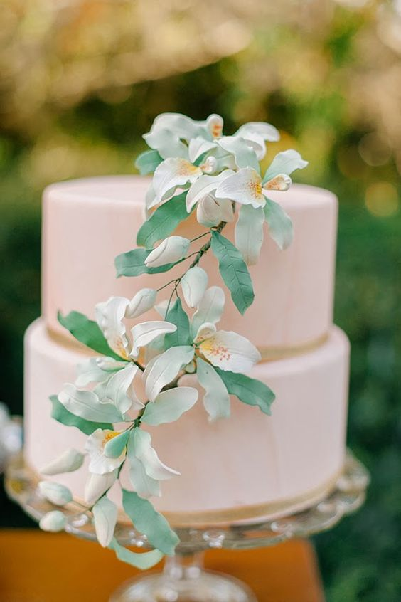 Delicate pink cake adorned with tropical orchids | Hands On Sweets
