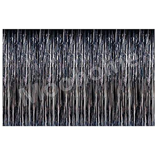 Moohome Big 12ft X 8ft Tinsel Metallic Black Foil Fringe Curtains