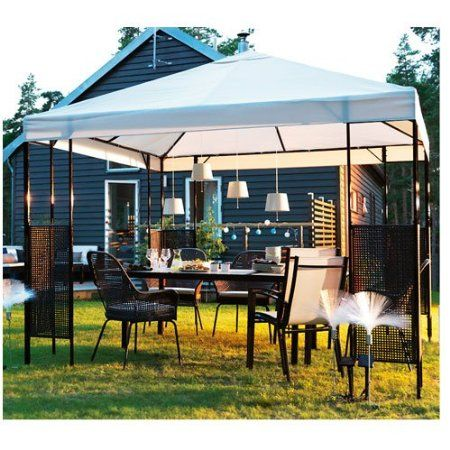 ikea ammero gazebo beige with dark brown frame patio. Black Bedroom Furniture Sets. Home Design Ideas