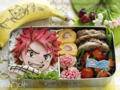 Fairy tail bento I want one (^-^  )/ -- OMG.  Natsu's face.  And it's made of FOOD.  I can't handle it.
