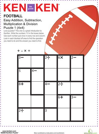 math worksheet : football kenken® puzzle  puzzles worksheets and math practices : Division Puzzle Worksheets