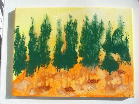 Der Wald- ein kleines Acrylbild auf Leinwand von TRAUMnetz.com     ** DReamcatcher u.v.m.  ** auf DaWanda.com