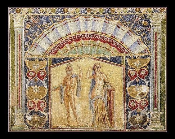 Древна римска мозайка От Къща # 22 @ Херкулан.  Преди 300 CE.  Няма други позоваване условие .: