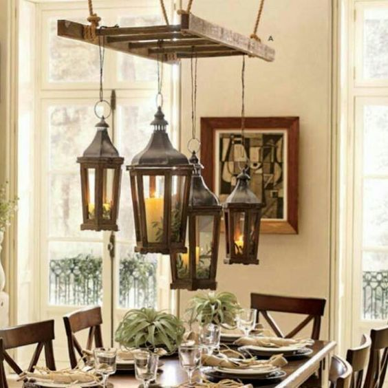 Vintage old Ladder hanging for light fixtures, chandelier; perfect for cottage style rustic home decor or retail store display; Upcycle, recycle, salvage, diy, repurpose! For ideas and goods shop at Estate ReSale & ReDesign, Bonita Springs, FL: