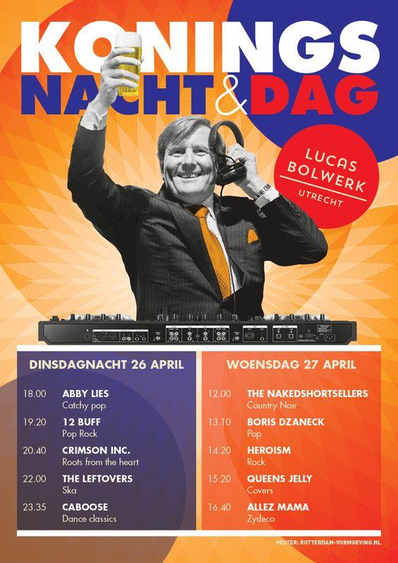Koningsdag poster met Proostende Koning Willem Alexander als DJ