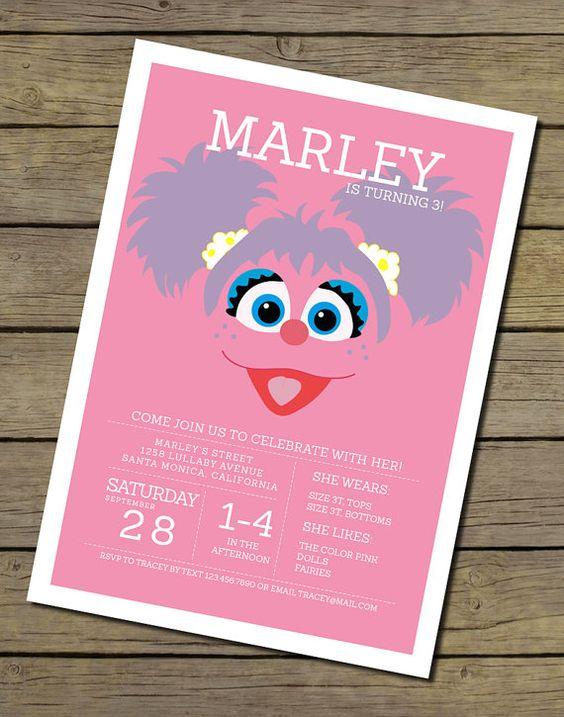 Abby Cadabby Invitation  Sesame Street by CharlesAlexDesign