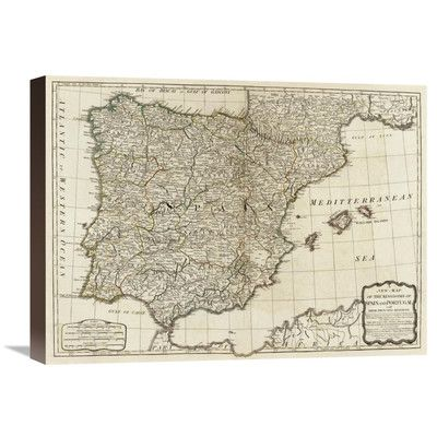 Global Gallery A New Map Of The Kingdoms Of Spain And Portugal - Portugal map size