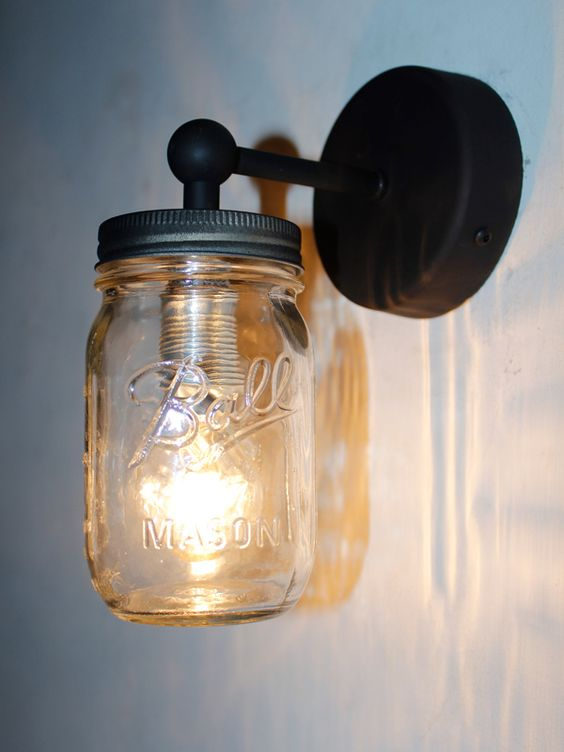 Wall Mounted Fruit Jar Lights : Industrial Wall Light With Clear Jam Jar Light Fixed Onto Aged Frame. http://www ...