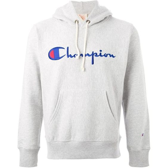 Champion Logo Hoodie (590 DKK) ❤ liked on Polyvore featuring tops ...
