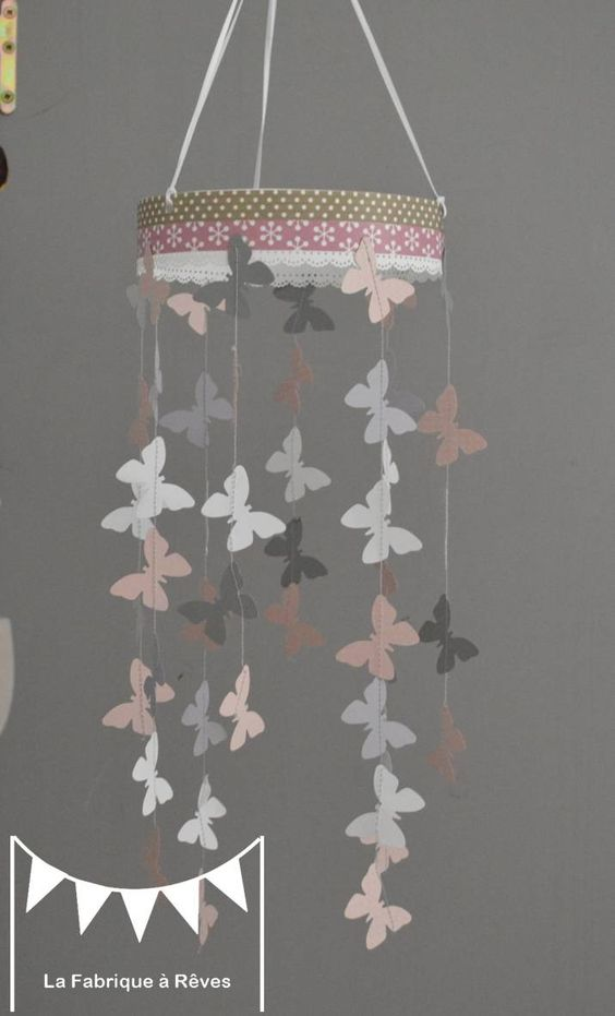 Mobile suspension papillons rose poudr gris et blanc d coration chambre b b enfant fille - Mobile musical bebe fille ...