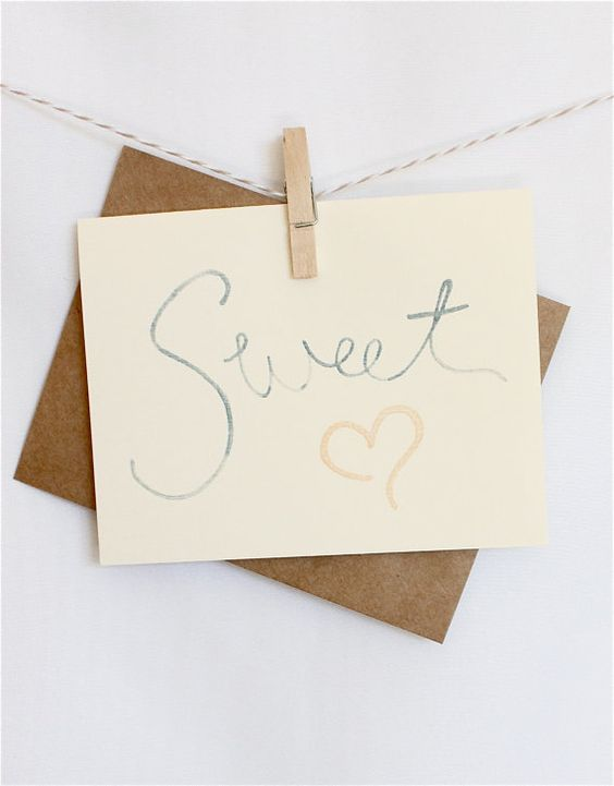the sweet heart gray and peach notecard by thepapermenage on Etsy, $2.75
